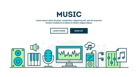 music production: Music production, colorful concept header, flat design thin line style, vector illustration