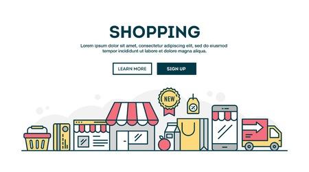 Online shopping, colorful concept header, flat design thin line style, vector illustration Illustration