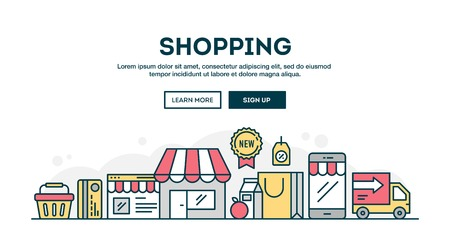 Online shopping, colorful concept header, flat design thin line style, vector illustration Stock Illustratie
