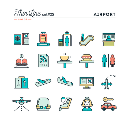 valise voyage: Aéroport, la numérisation de bagages, vol, location de voiture et plus, la couleur des icônes de ligne mince ensemble, illustration vectorielle