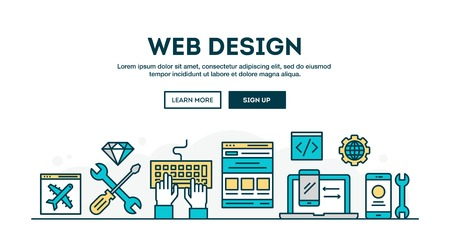 typing: Web design, colorful concept header, flat design thin line style, vector illustration Illustration