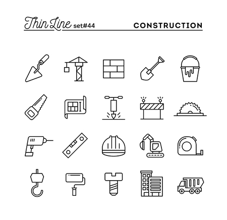 cement wall: Construction, building, project, tools and more, thin line icons set, vector illustration