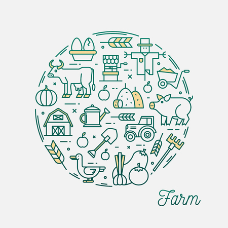 Farm, thin line icons circular frame banner, vector illustration