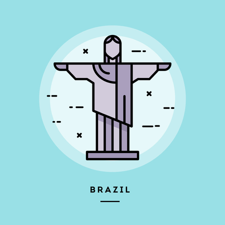 Brazil, flat design thin line banner, usage for e-mail newsletters, web banners, headers, blog posts, print and more Illustration