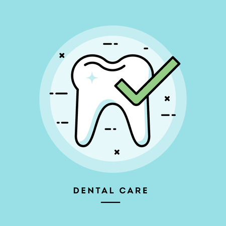 Dental care, flat design thin line banner, usage for e-mail newsletters, web banners, headers, blog posts, print and more