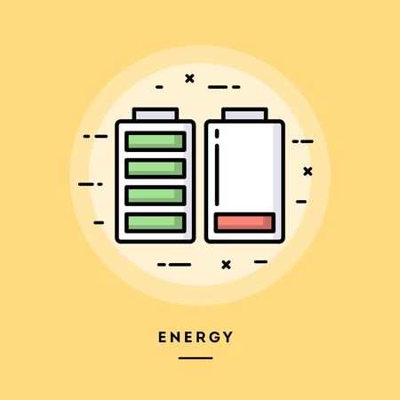 Energy, flat design thin line banner, usage for e-mail newsletters, web banners, headers, blog posts, print and more 向量圖像