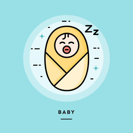 Baby, flat design thin line banner, usage for e-mail newsletters, web banners, headers, blog posts, print and more