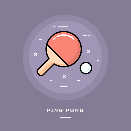 Ping pong, flat design thin line banner, usage for e-mail newsletters, web banners, headers, blog posts, print and more Illustration