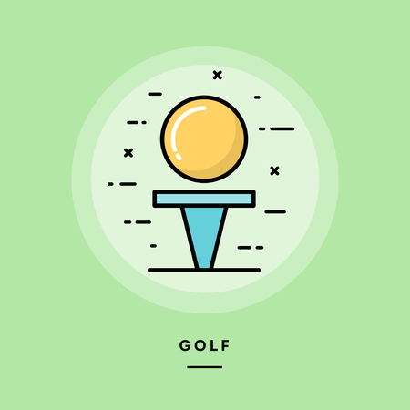 Golf, flat design thin line banner, usage for e-mail newsletters, web banners, headers, blog posts, print and more