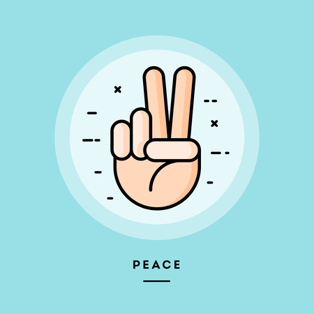 Peace, flat design thin line banner, usage for e-mail newsletters, web banners, headers, blog posts, print and more