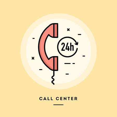 Call center, flat design thin line banner, usage for e-mail newsletters, web banners, headers, blog posts, print and more