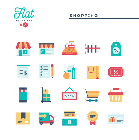 Shopping, e-commerce, delivery and more, thin line icons set, vector illustration Illustration