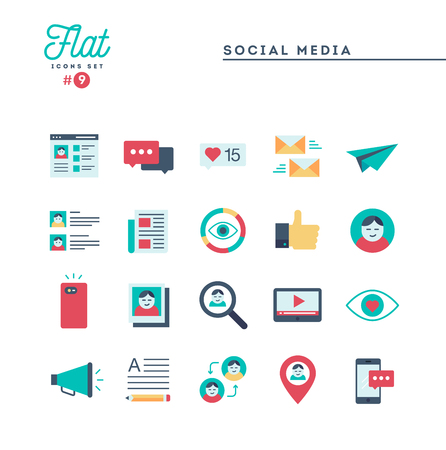 Social media, communication, personal profile, online posting and more, flat icons set, vector illustration