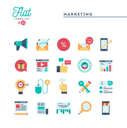 Digital marketing, online business, target audience, pay per click and more, flat icons set, vector illustration