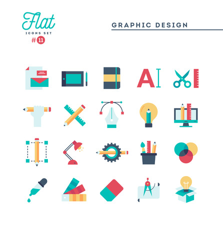 Graphic design, creative package, stationary, software and more, flat icons set, vector illustration Illusztráció