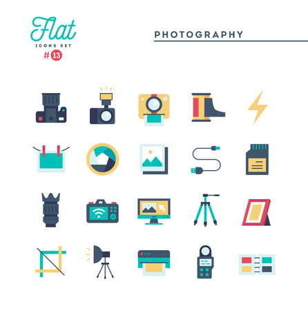 Photography, equipment, post-production, printing and more, flat icons set, vector illustration