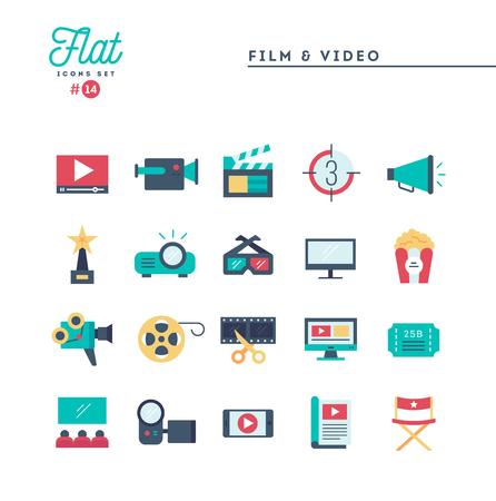 Film, video, riprese, editing e altro, set di icone piatte, illustrazione vettoriale Vettoriali