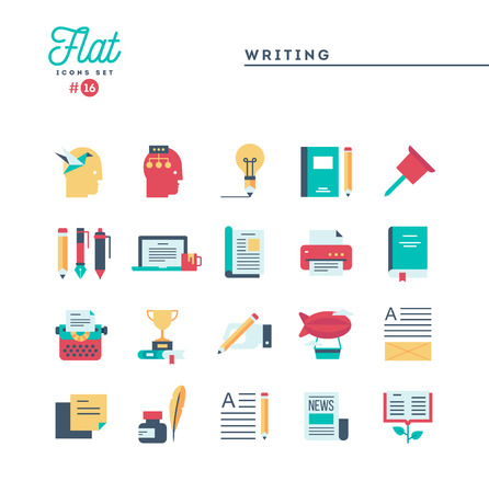 Writing, blogging, best seller book, storytelling and more, flat icons set, vector illustration Reklamní fotografie - 115093691