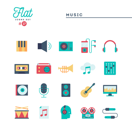 Music, sound, technology and more, flat icons set, vector illustration