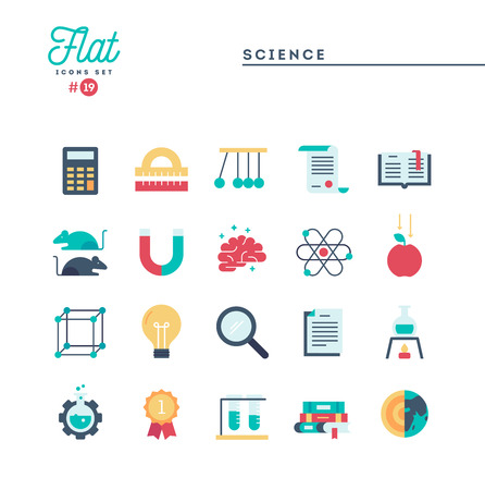 Science, experiments, laboratory, studies and more, flat icons set, vector illustration Illustration