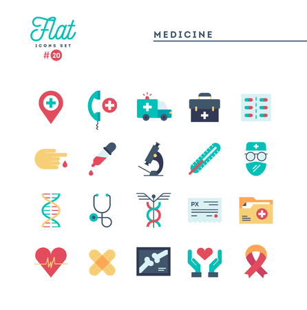 Medicine, health care, emergency, pharmacology and more, flat icons set, vector illustration Illustration