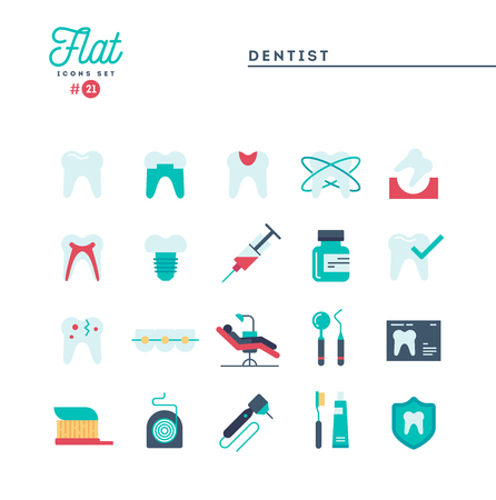 Dentist, dental care, healthy teeth, protection and more, flat icons set, vector illustration Foto de archivo - 115093695