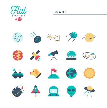 Espace, univers, corps célestes, lancement de fusée, astronomie et plus, ensemble d'icônes plat, illustration vectorielle Vecteurs