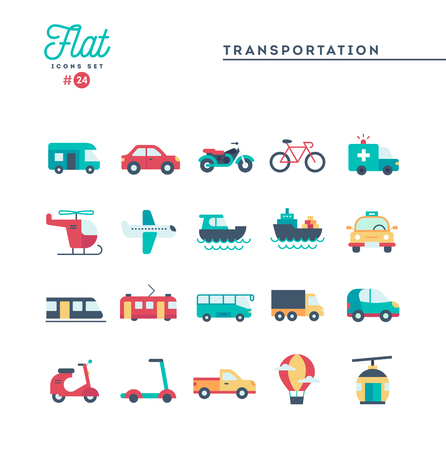 Transport und Fahrzeuge, flache Ikonen eingestellt, Vektorillustration