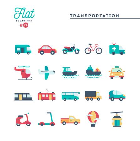 Trasporto e veicoli, set di icone piatte, illustrazione vettoriale