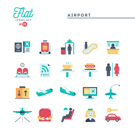 Airport, luggage scanning, flight, rent a car and more, flat icons set, vector illustration Banque d'images - 115093698