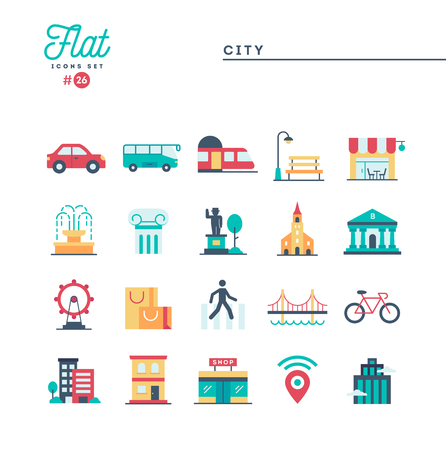 City, transportation, culture, shopping and more, flat icons set, vector illustration Stock Illustratie