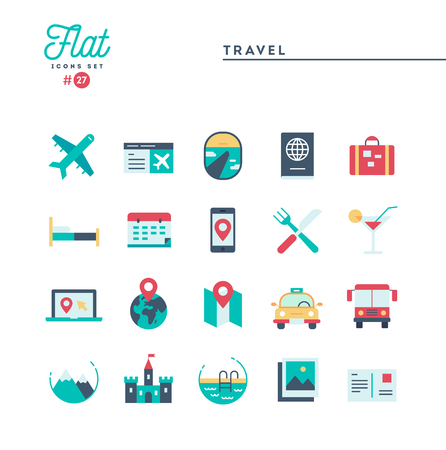 Travel, tourism, hotel, sightseeing and more, flat icons set, vector illustration