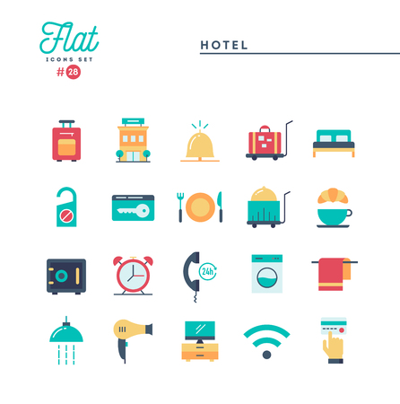 Hotel, accommodation, room service, restaurant and more, flat icons set, vector illustration