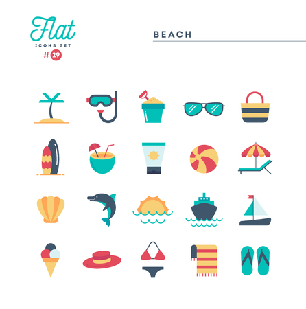 Tropical beach, summer, vacation, cruising and more, flat icons set, vector illustration