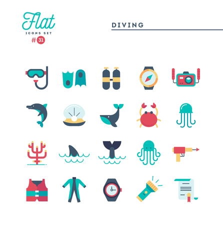 Scuba diving, underwater animals, equipment, certificate and more, flat icons set, vector illustration Illustration