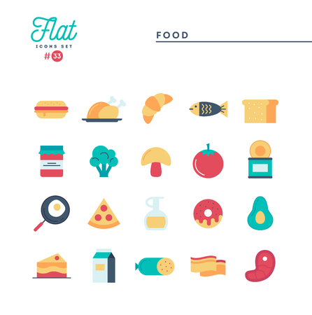 Food, meat, vegetables and more, flat icons set, vector illustration