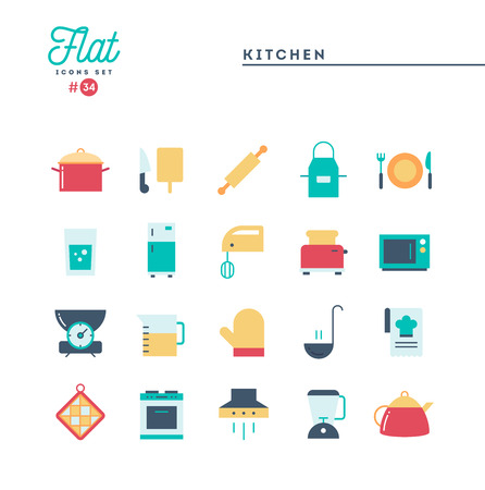 Kitchen utensils, food preparation and more, flat icons set, vector illustration Imagens - 115093701