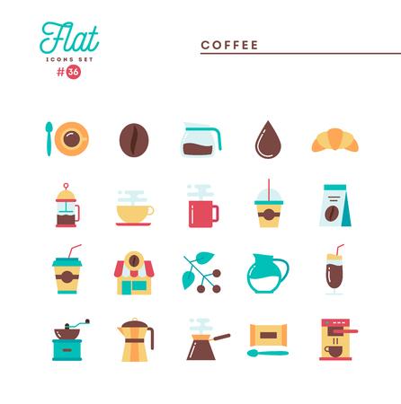 Coffee, flat icons set, vector illustration Çizim