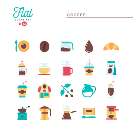 Coffee, flat icons set, vector illustration Illustration