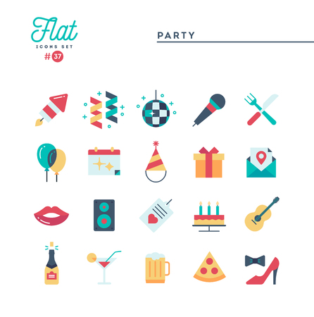 Party, celebration, fireworks, confetti and more, flat icons set, vector illustration