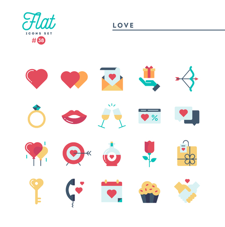 Love, Valentines day, dating, romance and more, flat icons set, vector illustration
