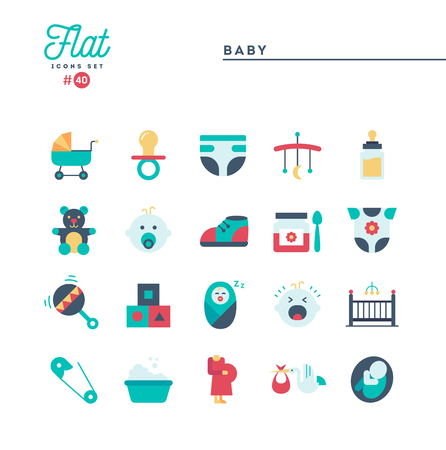 Baby, pregnancy, birth, toys and more, flat icons set, vector illustration Standard-Bild - 115093706