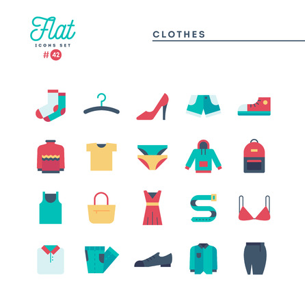 Clothing, flat icons set, vector illustration Illustration