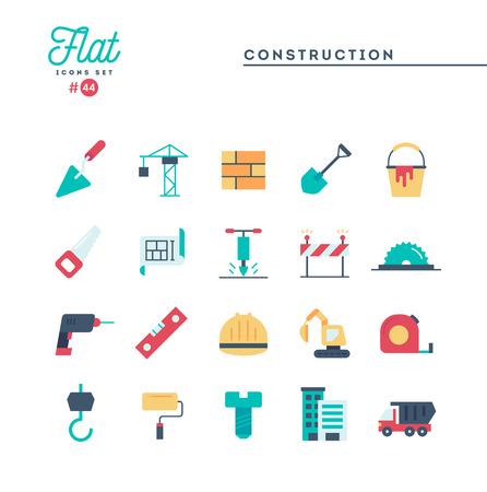 Construction, building, project, tools and more, flat icons set, vector illustration Illusztráció