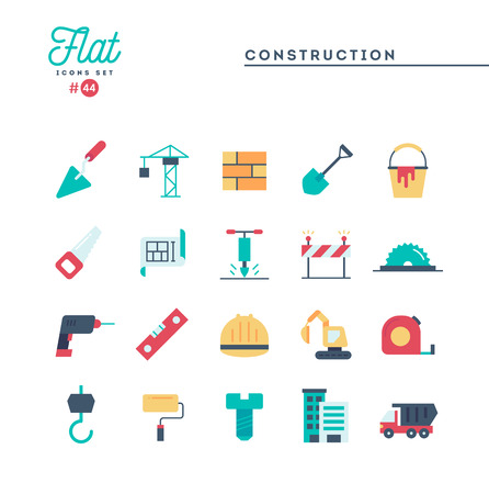 Construction, building, project, tools and more, flat icons set, vector illustration Illustration