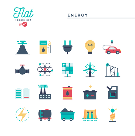 Power, energy, electricity production and more, flat icons set, vector illustration Standard-Bild - 115093710