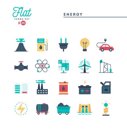 Strom, Energie, Stromerzeugung und mehr, flache Symbole, Vektorillustration vector Vektorgrafik