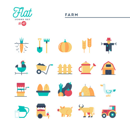 Farm, animals, land, food production and more, flat icons set, vector illustration