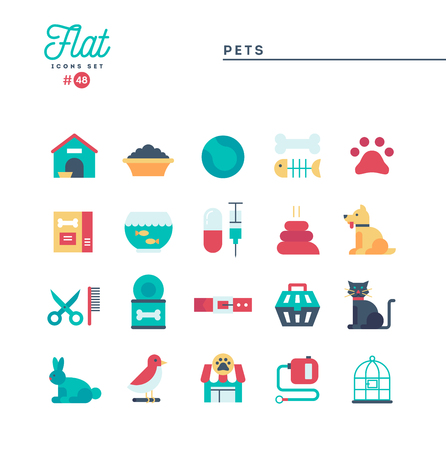 Pets, flat icons set, vector illustration