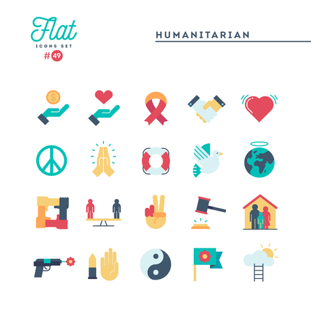 Humanitarian, peace, justice, human rights and more, flat icons set, vector illustration Illustration